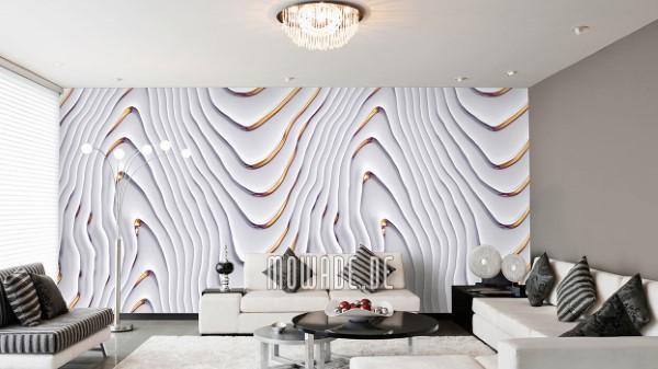 Schöne und moderne 3D Vliestapeten für jedes Interieur und Vorliebe eleganter wandbelag weiß gold wellen motiv tapete