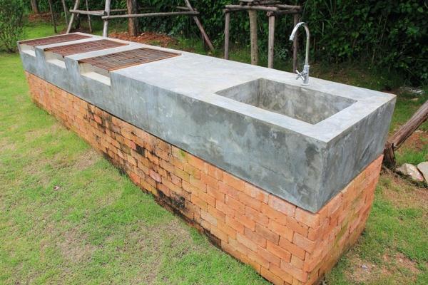 Spüle im Freien 50 Gartenspüle Ideen Beton und Ziegeln