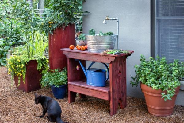 Spüle im Freien 50 Gartenspüle Ideen Holzspüle