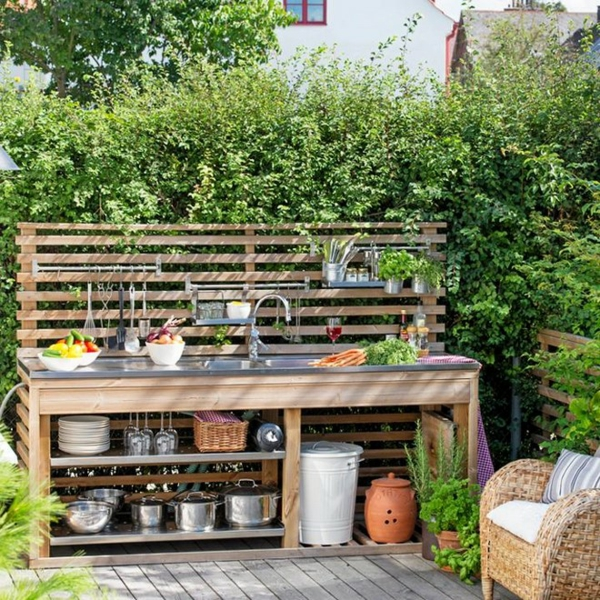 Spüle im Freien 50 Gartenspüle Ideen Spültisch Holz