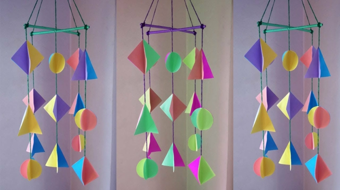 Windspiel basteln mit Naturmaterialien diy ideen aus papier