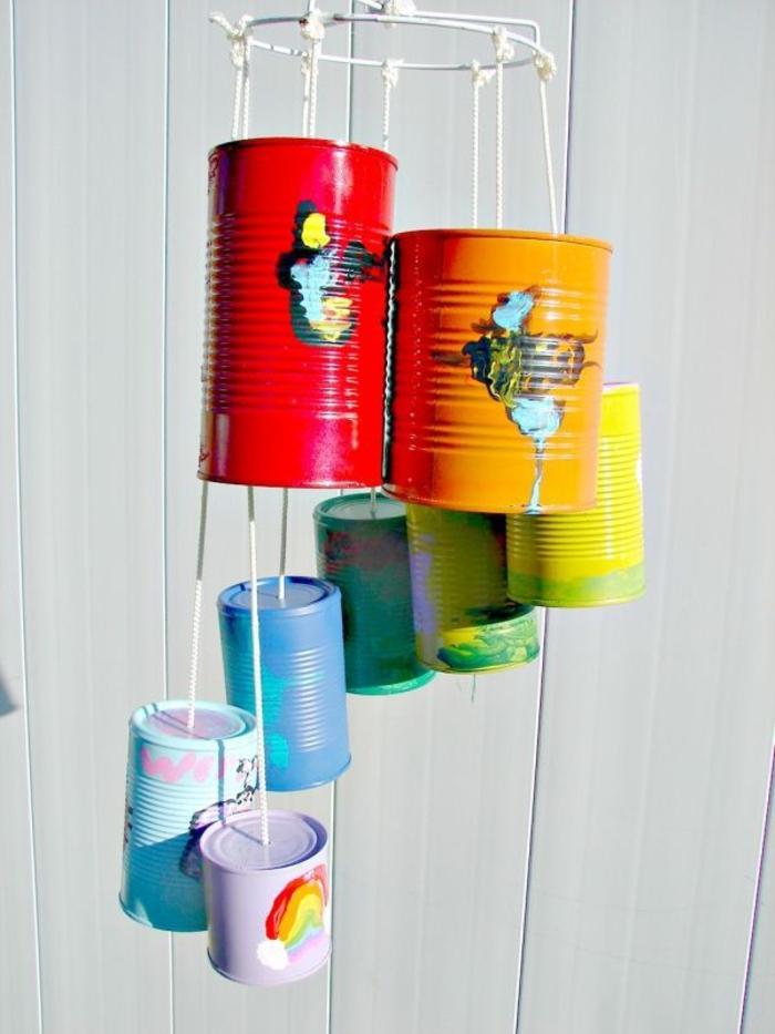 Windspiel basteln mit Naturmaterialien diy ideen blechdosen