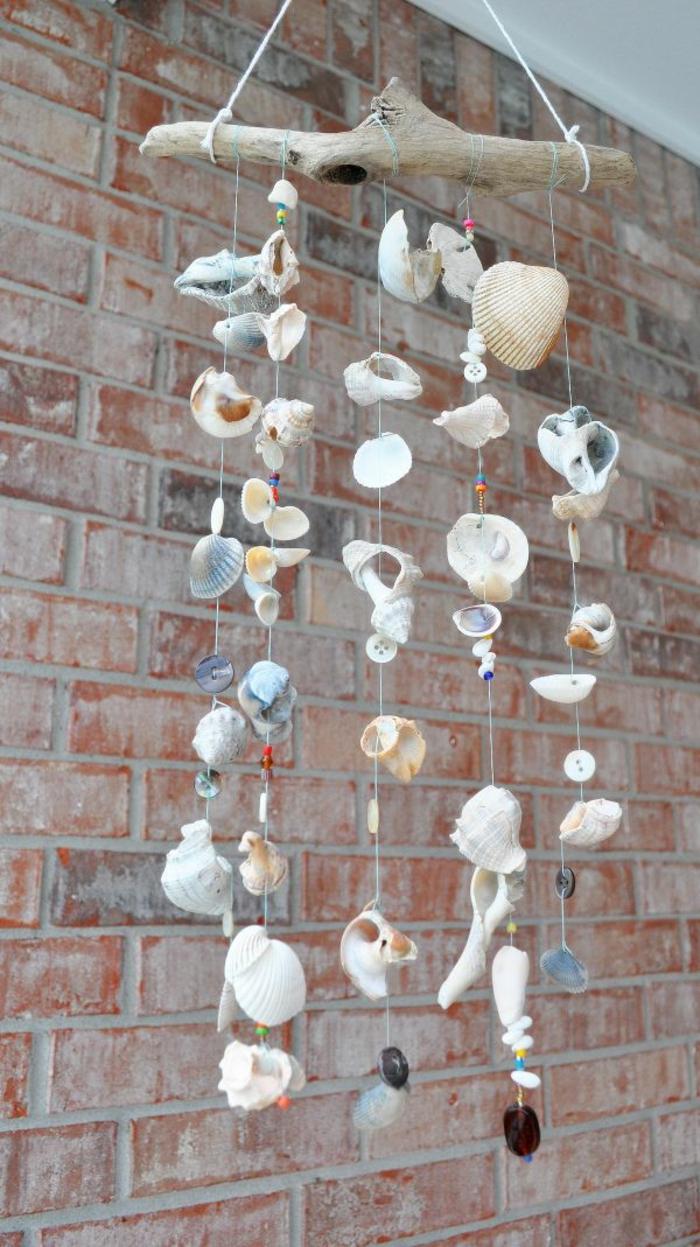 Windspiel basteln mit Naturmaterialien diy ideen deko sommer
