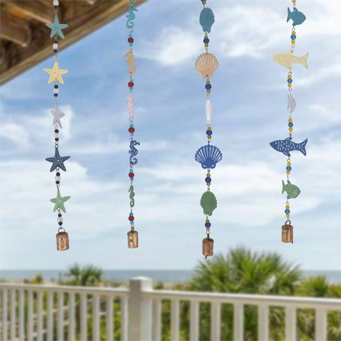 Windspiel basteln mit Naturmaterialien diy ideen glocken fische