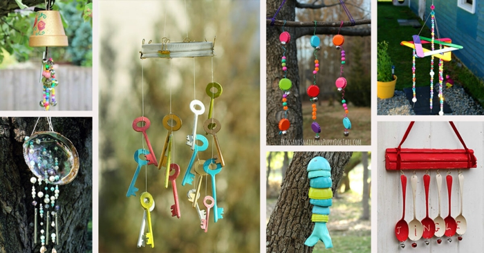 Windspiel basteln mit Naturmaterialien diy ideen sommer deko ideen bunt
