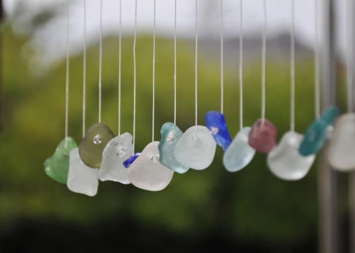 Windspiel basteln mit Naturmaterialien diy ideen sommer glas