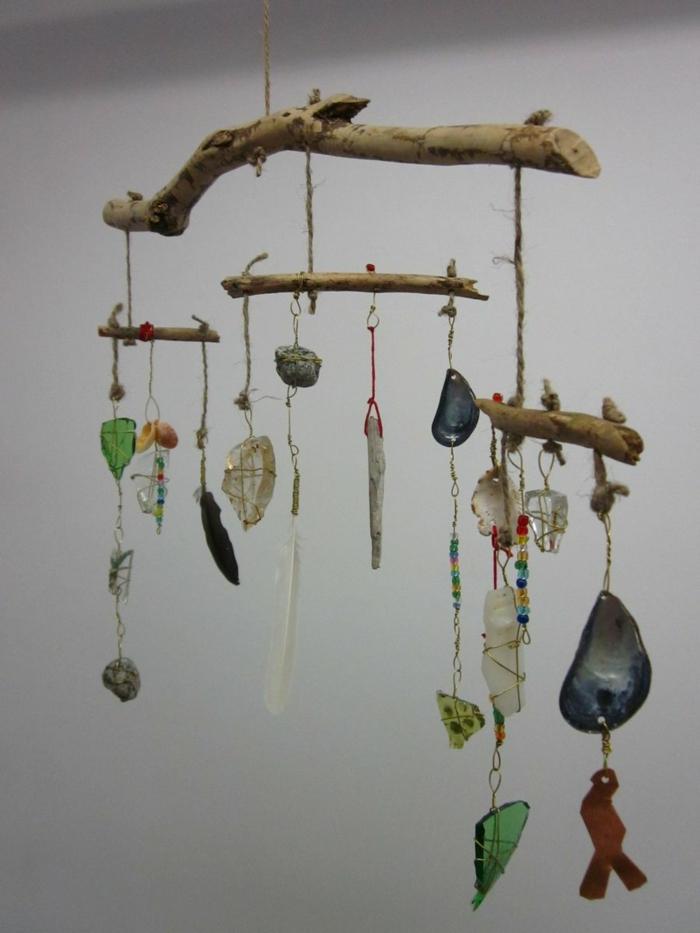 Windspiel basteln mit Naturmaterialien diy ideen sommer steine