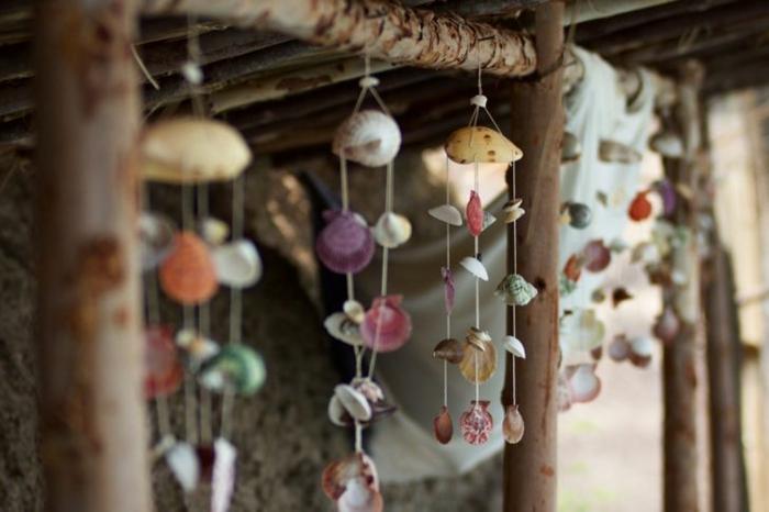 Windspiel basteln mit Naturmaterialien diy ideen tannenzapfen