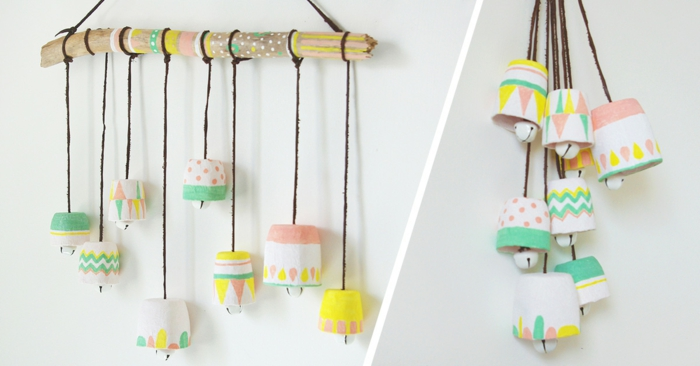 Windspiel basteln mit Naturmaterialien diy ideen upcycling ideen mit glockchen