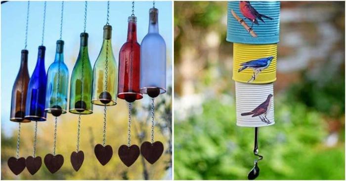 Windspiel basteln mit Naturmaterialien diy ideen vogel