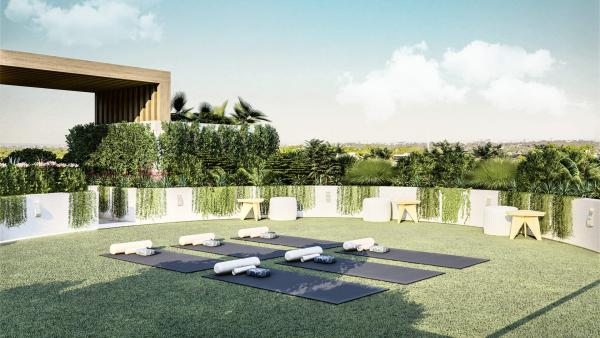 Yoga Garten anlegen und gestalten perfekter Outdoor Bereich für eine Gruppe Yoga Liebhaber schöne praktische Gestaltung Yoga Matten im Zentrum