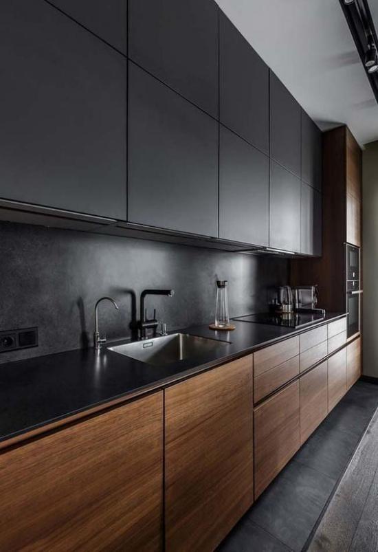 integrierte Dunstabzugshaube super moderne Küche Oberschränke Küchenrückwand in Anthrazit Unterschränke aus Holz