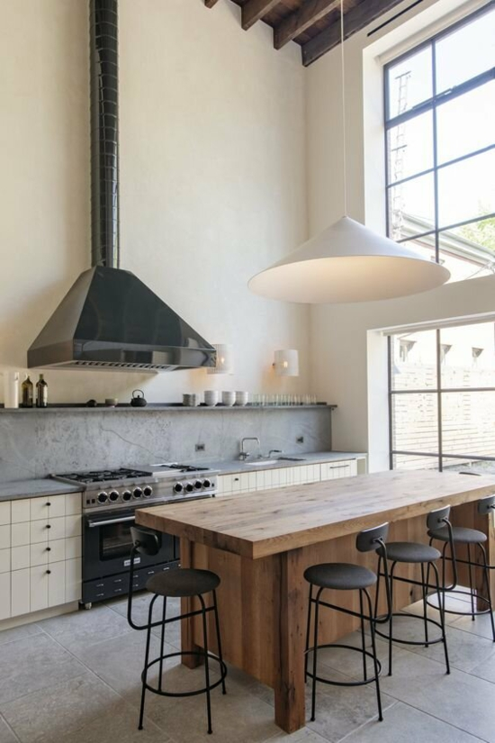 küche ohne hängeschränke modern rustikal