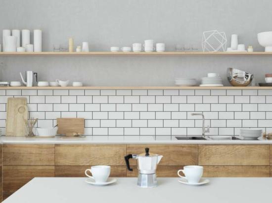 küche ohne hängeschränke offene auflagen
