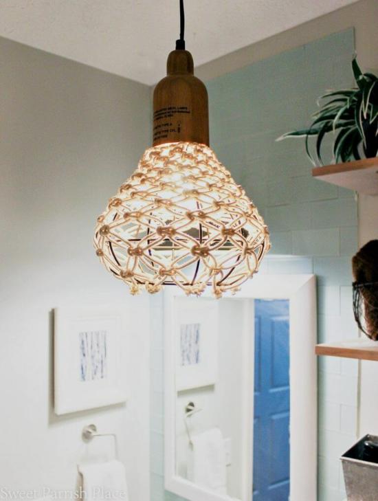 makramee lampenschirm knoten anleitung