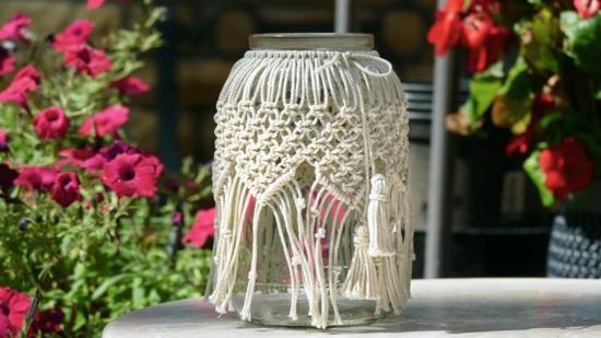 makramee windlicht mit glas basteln