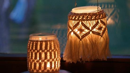 makramee windlicht romantische deko selber machen