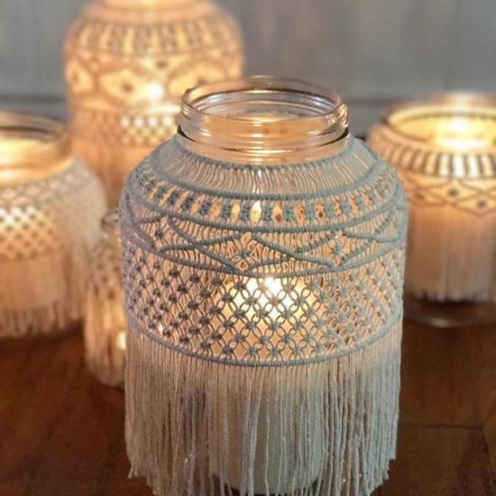 makramee windlicht selber machen mit glas