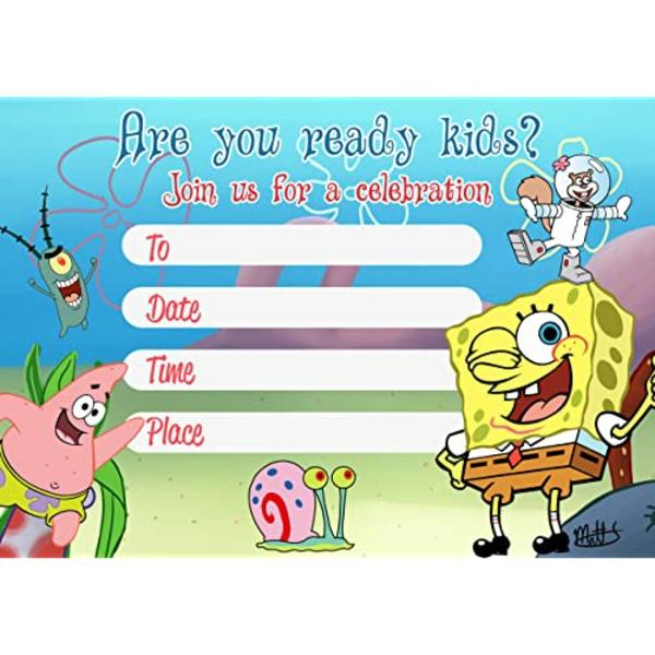 Einladung Wortlaut Kindergeburtstag feiern Einladungskarte Sponge Bob