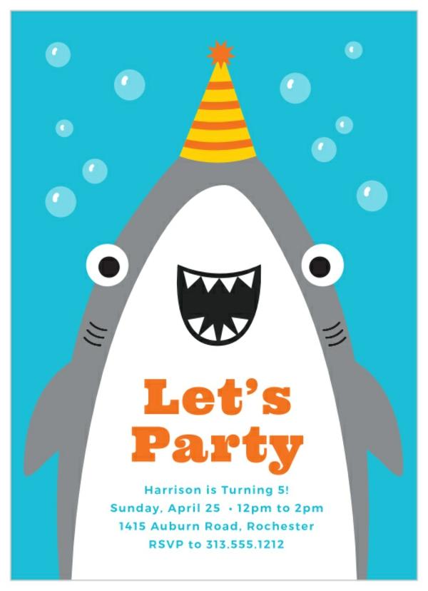 Einladung Wortlaut Kindergeburtstag feiern Einladungskarten Sharkparty