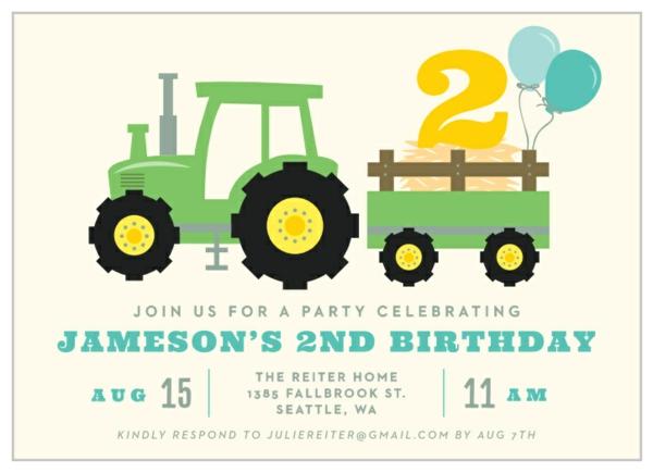 Einladung Wortlaut Kindergeburtstag feiern Einladungskarten Traktor