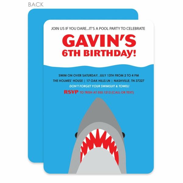 Einladung Wortlaut Kindergeburtstag feiern Einladungskarten gestalten Hai