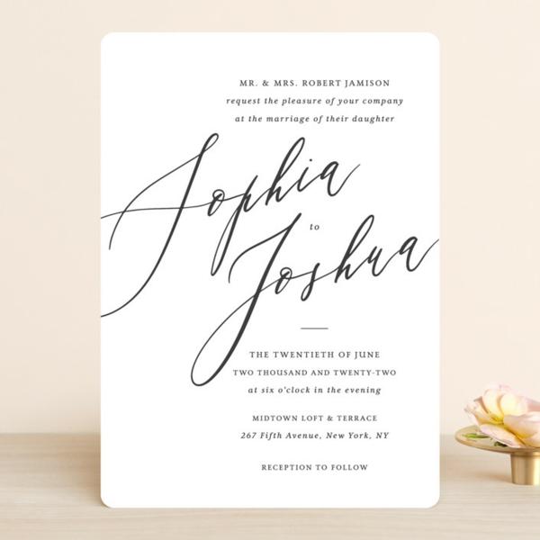 Einladungskarten Hochzeit Text schlichtes Design