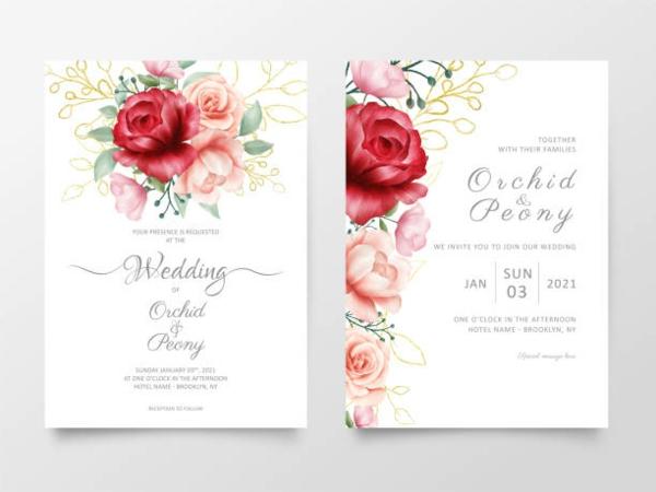 Einladungskarten für Hochzeit Blumen Druck schlichtes Design
