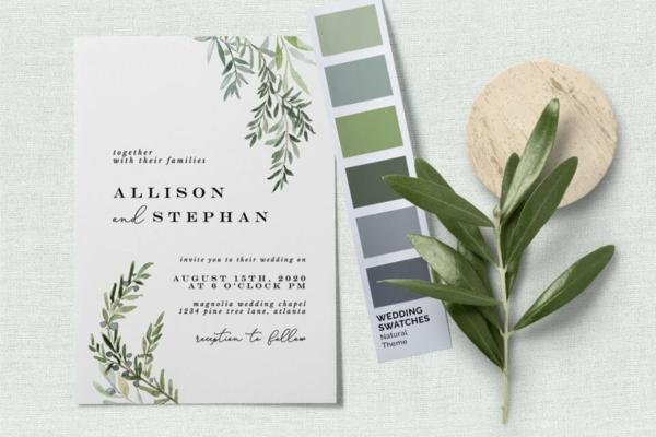 Einladungskarten für Hochzeit Blumen schlichtes Design