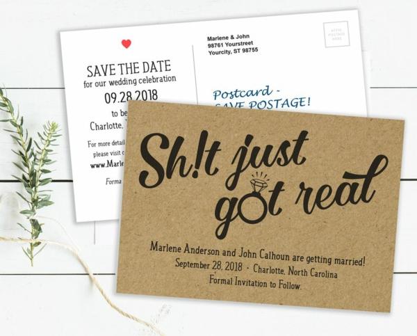 Einladungskarten für Hochzeit Papier Text Ideen