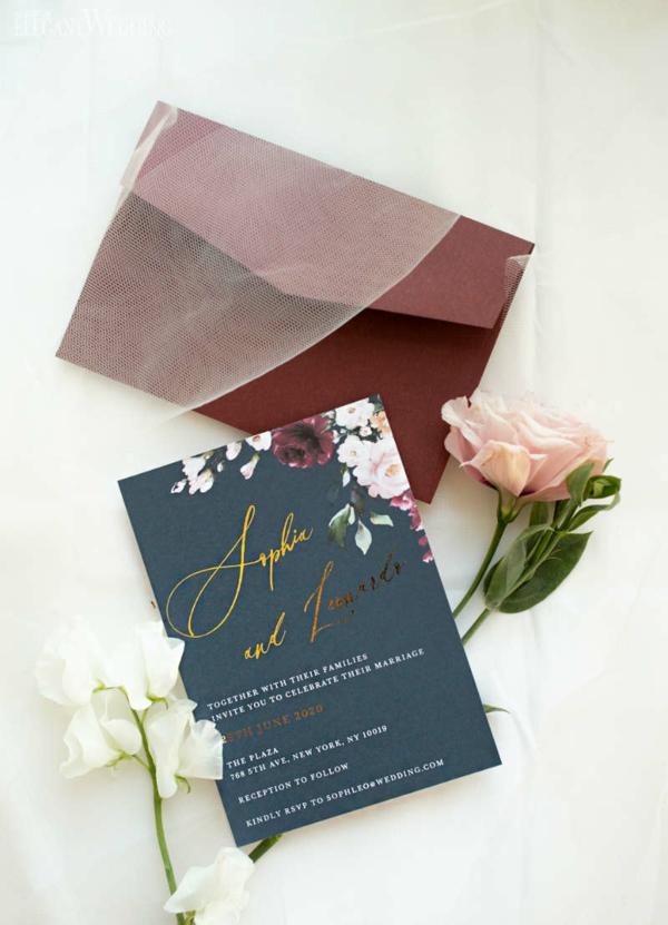 Einladungskarten für Hochzeit Text schlichtes Design