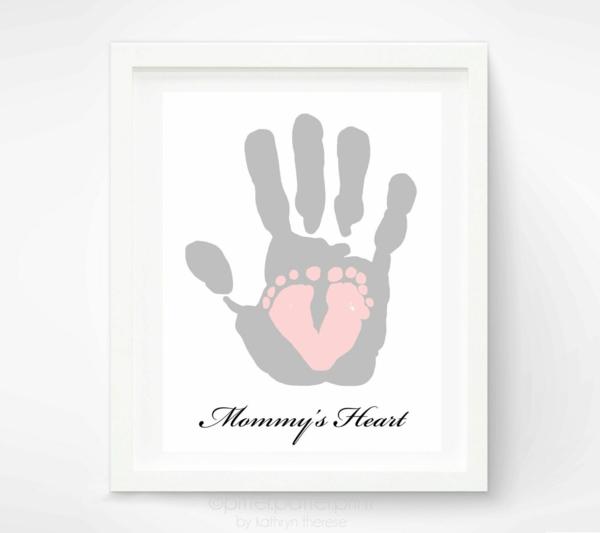 Geschenk für frischgebackene Mama Handabdruck
