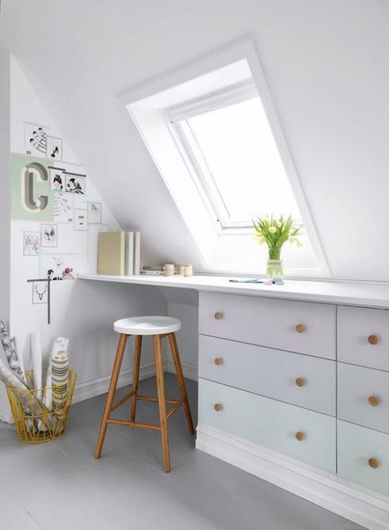 Heimbüro auf dem Dachboden ganz in Weiß sehr sauber und einladend aussehen