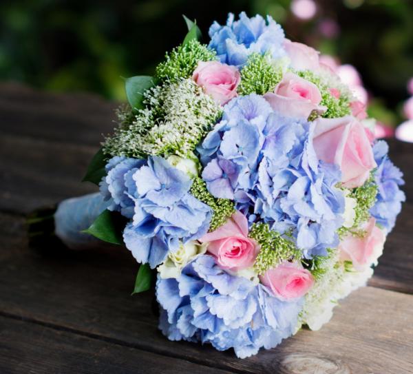 Hortensien zum Blühen bringen Überraschung ein stilvolles Bouquet mit blauen Hortensien und rosa Rosen