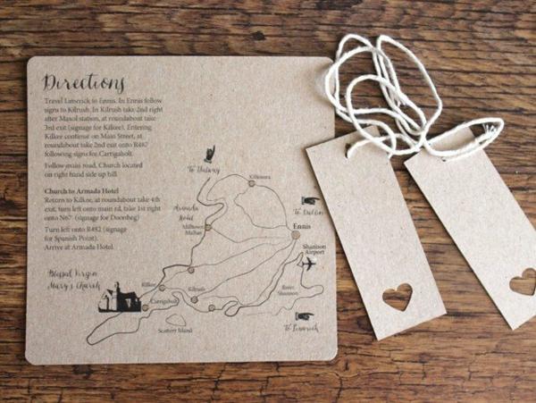 Ideen für Einladungskarten Hochzeit Text Map Karte