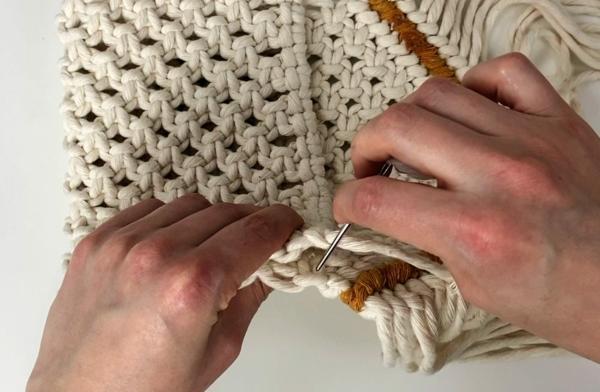 Makramee Tasche basteln Schritt-für-Schritt-Anleitung Taschenträger