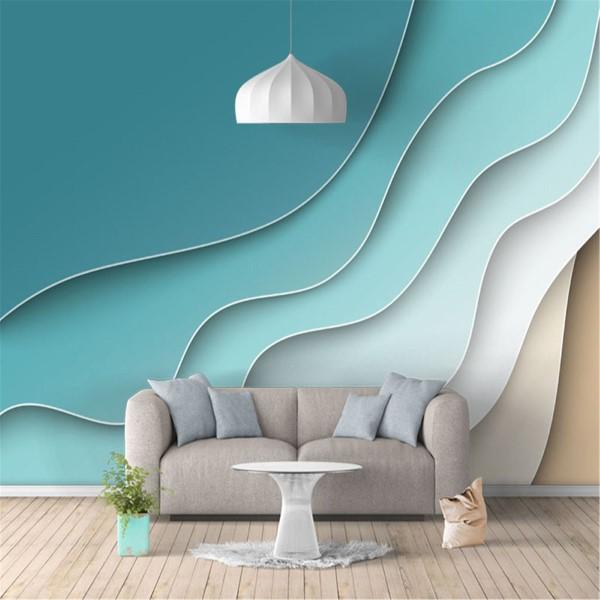 Maritime Tapeten sorgen für ein Sommerfeeling das ganze Jahr über abstrakte wellen wohnzimmer