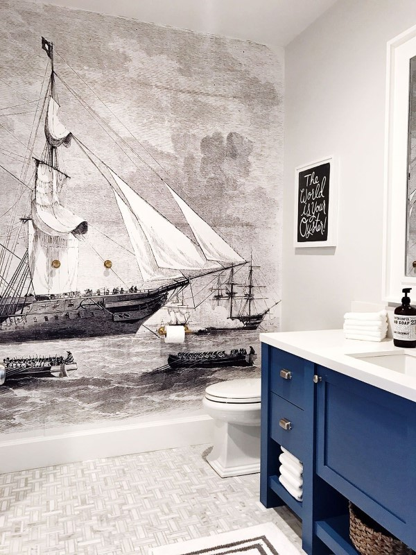 Maritime Tapeten sorgen für ein Sommerfeeling das ganze Jahr über badezimmer ideen kunst