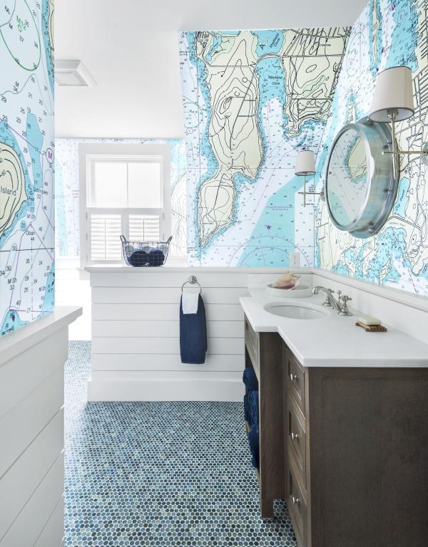 Maritime Tapeten sorgen für ein Sommerfeeling das ganze Jahr über badezimmer meer karte weltkarte