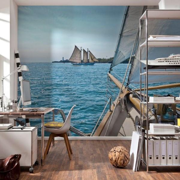 Maritime Tapeten sorgen für ein Sommerfeeling das ganze Jahr über home office heimbüro idee