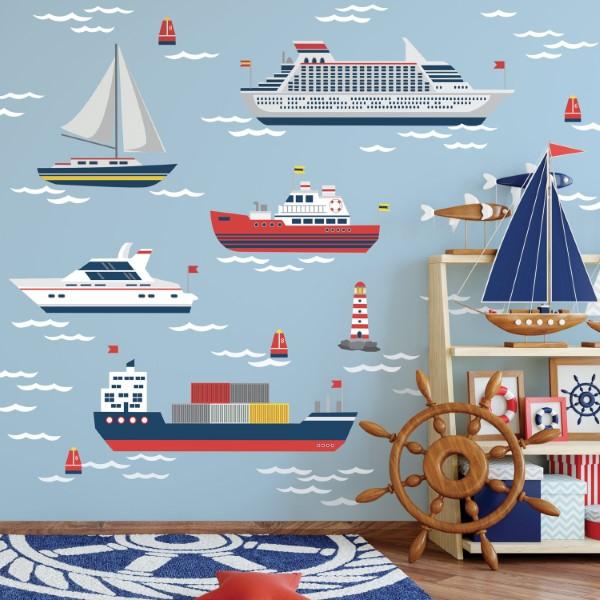 Maritime Tapeten sorgen für ein Sommerfeeling das ganze Jahr über kinderzimmer ideen farbenfroh schiffe