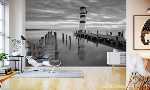 Maritime Tapeten sorgen für ein Sommerfeeling das ganze Jahr über leuchtturm modern schwarz weiß