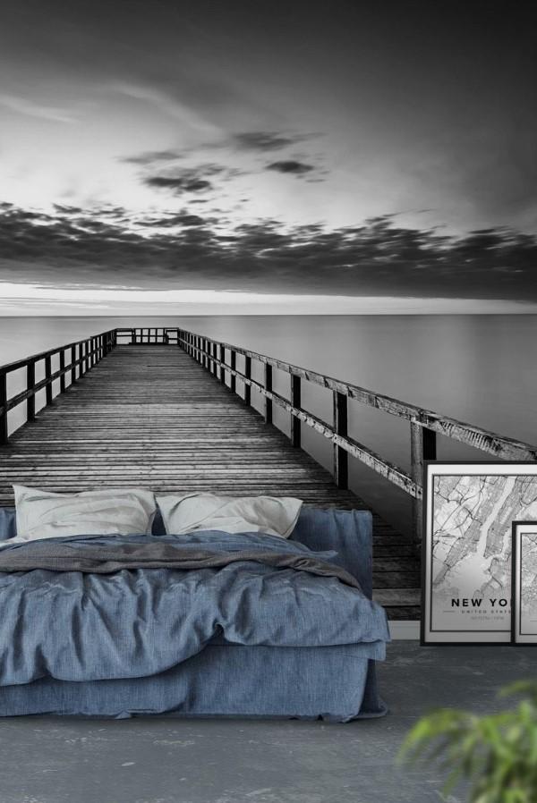 Maritime Tapeten sorgen für ein Sommerfeeling das ganze Jahr über schlafzimmer hafen ideen