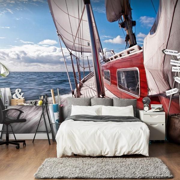 Maritime Tapeten sorgen für ein Sommerfeeling das ganze Jahr über segelboot yacht ideen
