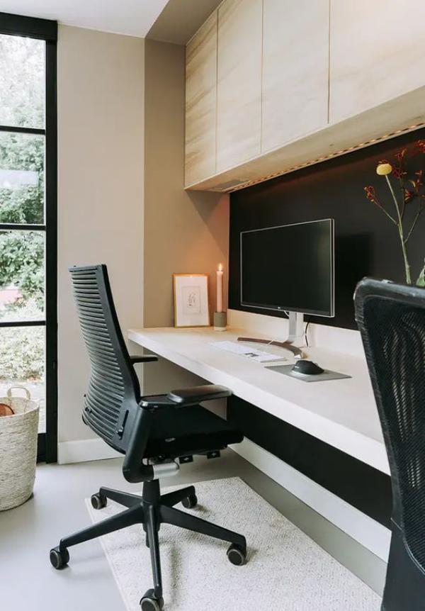 Minimalistisches Home-Office bequemer Bürostuhl PC sehr einladende und gemütliche Atmosphäre