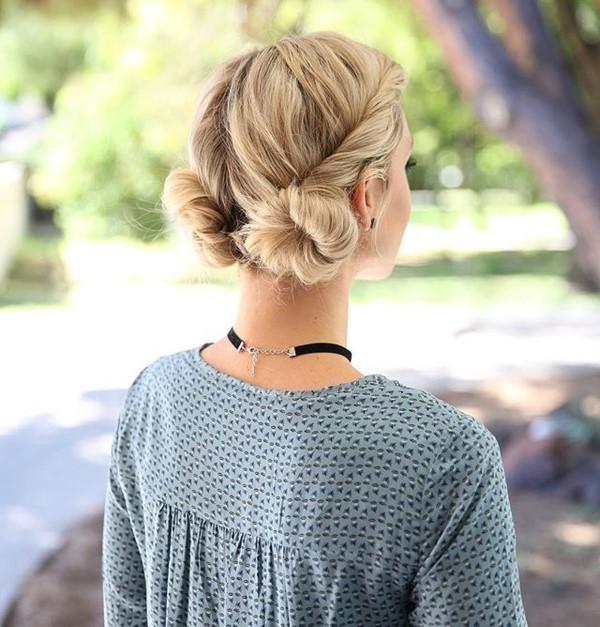 Stilvolle und schöne Frisuren für schulterlange Haare dutt doppel ideen