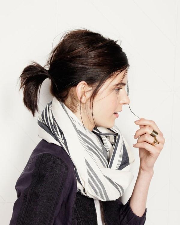 Stilvolle und schöne Frisuren für schulterlange Haare pferdeschwanz brünette