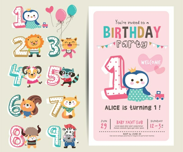 Was schreibt man auf Einladungskarten Kindergeburtstag erste Geburtstagsparty