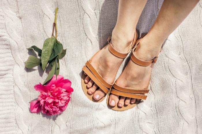 barfuß sandalen minimal pink