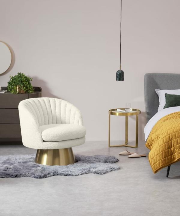 bouclé trendsstoff schlafzimmer sessel in weiß